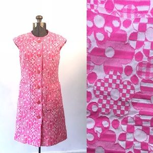 1970s Vintage Psychedelic Dress Retro 70s Dress